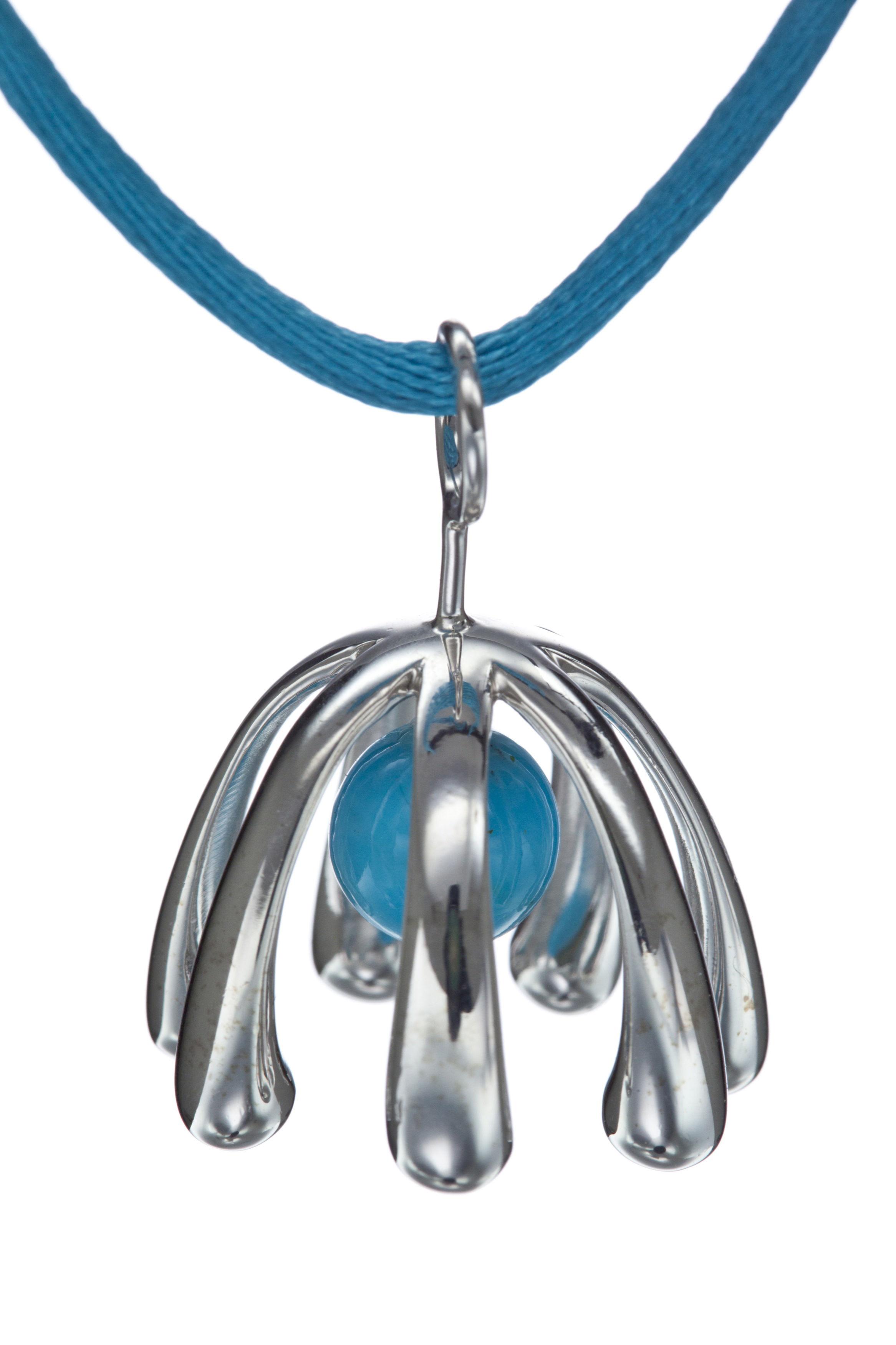 Accessoires - Bijoux, porte-clés... - Collier Extratoof Turquoise by Matali Crasset / Exclusivité - Le Buisson - Pierre Turquoise bleue / Cordon bleu - Argent, Satin, Turquoise