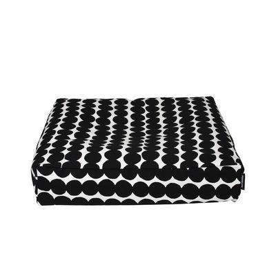 Mobilier - Poufs - Coussin de sol Räsymatto / 55 x 55 x H 12 cm - Marimekko - Räsymatto / Blanc & noir - Billes de polystyrène expansé, Coton épais
