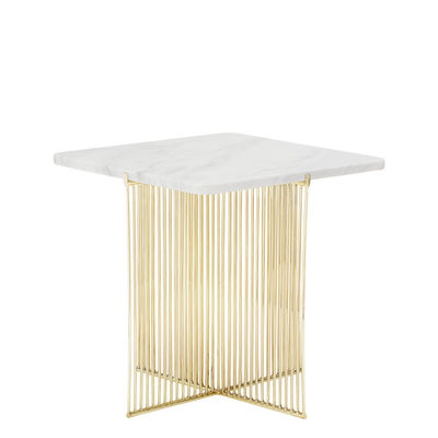 Furniture - Coffee Tables - Ellis End table - / Marble - 45 x 45 cm by Bloomingville - White & gold - Iron, Marble