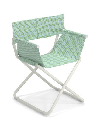 Furniture - Chairs - Snooze Directeur Folding armchair - / Fabric & Metal by Emu - Citronella / White structure - Technical fabric, Varnished steel