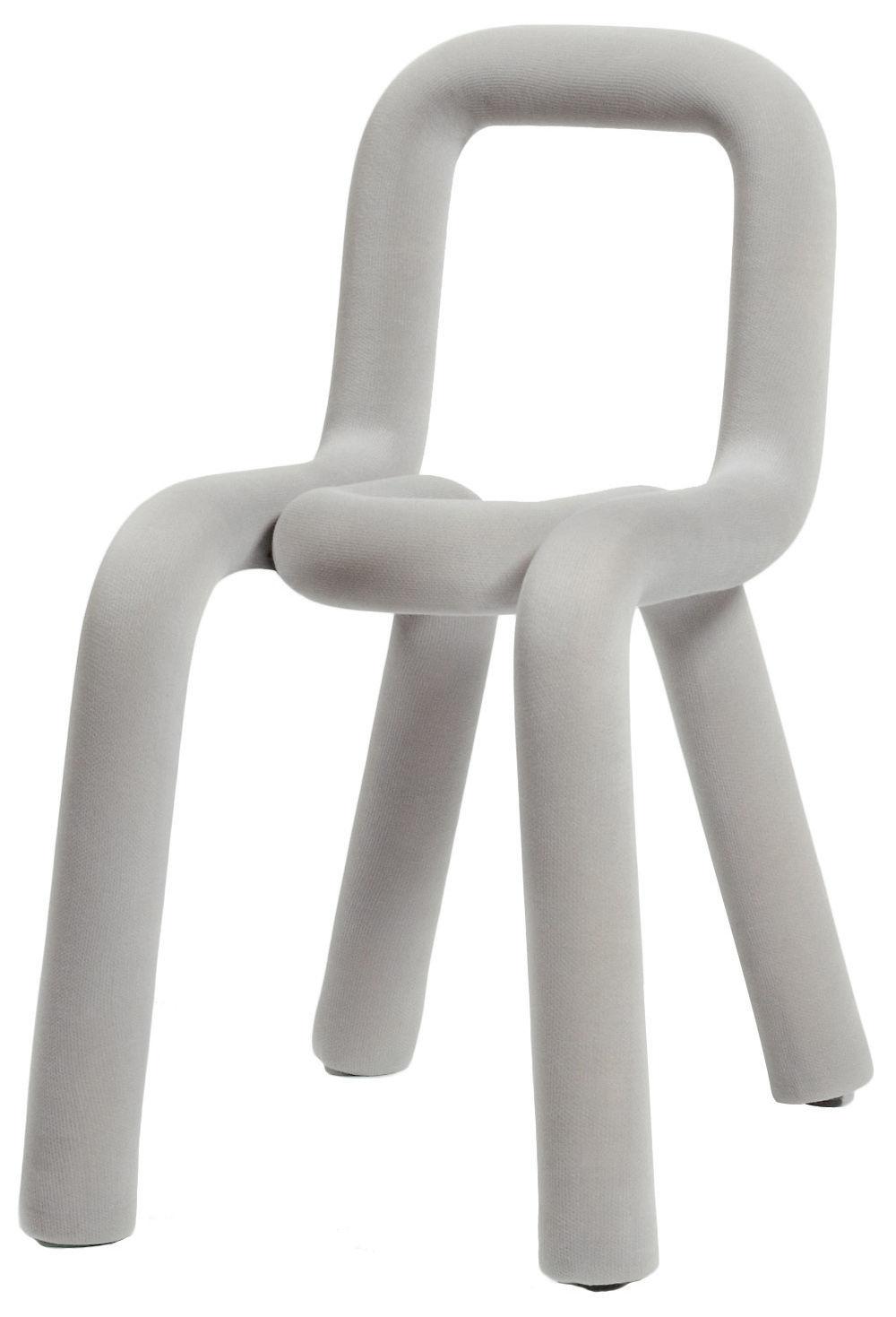 Möbel - Stühle  - Bold Gepolsterter Stuhl - Moustache - Hellgrau - Gewebe, Schaumstoff, Stahl