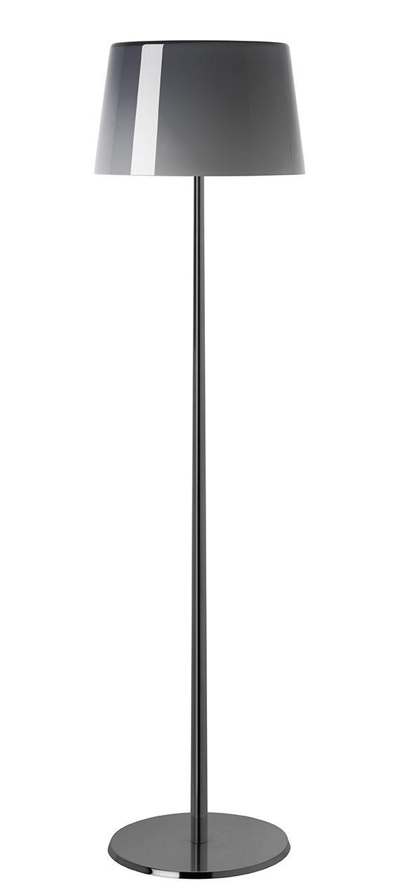 Illuminazione - Lampade da terra - Lampada Lumière XXL / H 144 cm - Foscarini - Grigio / Piede cromato nero - alluminio verniciato, vetro soffiato