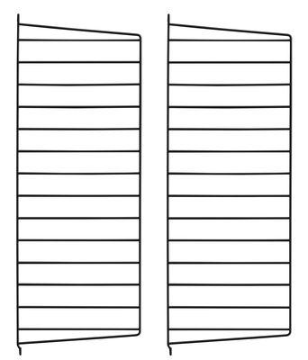 Mobilier - Etagères & bibliothèques - Montant mural String® system / H 75 x P 30 cm - Set de 2 - String Furniture - Noir - Acier laqué