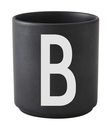 Mug Arne Jacobsen / Porcelaine - Lettre B - Design Letters noir en céramique