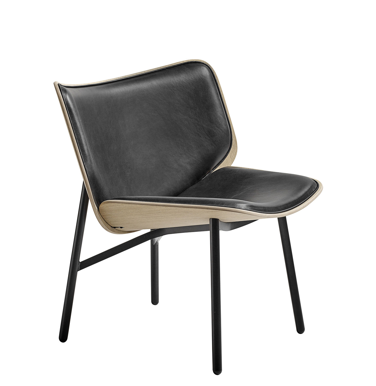 Furniture - Armchairs - Dapper Padded armchair - / Leather by Hay - Black - Epoxy lacquered steel, Foam, Leather, Natural oak plywood
