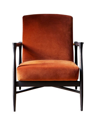 Furniture - Armchairs - Floating Padded armchair - / Velvet by RED Edition - Fox orange / Black - High resilience foam, Tinted beechwood, Velvet