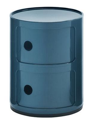 Arredamento - Mobili per bambini - Portaoggetti Componibili / 2 cassetti - H 40 cm - Kartell - Blu petrolio - ABS