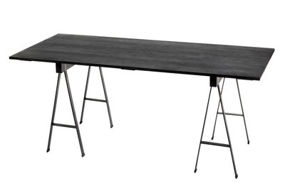 Trends - Must-haves Office - Studio Simple Table rectangulaire - / with trestles - 180 x 75 cm by Serax - Black - Metal, Oak