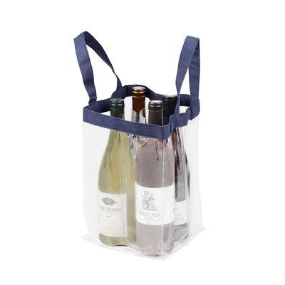 Arts de la table - Bar, vin, apéritif - Sac Soft Baladeur Crystal / Pour 4 bouteilles - L'Atelier du Vin - Transparent / Bleu - PVC, Toile polyester