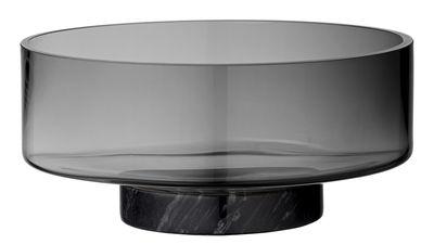 Arts de la table - Saladiers, coupes et bols - Saladier Volvi / Verre & marbre - Ø 25 cm - AYTM - Gris fumé / Marbre noir - Marbre, Verre