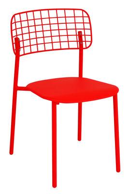 Arredamento - Sedie  - Sedia impilabile Lyze / Metallo - Emu - Rosso - Acciaio inossidabile verniciato, alluminio verniciato