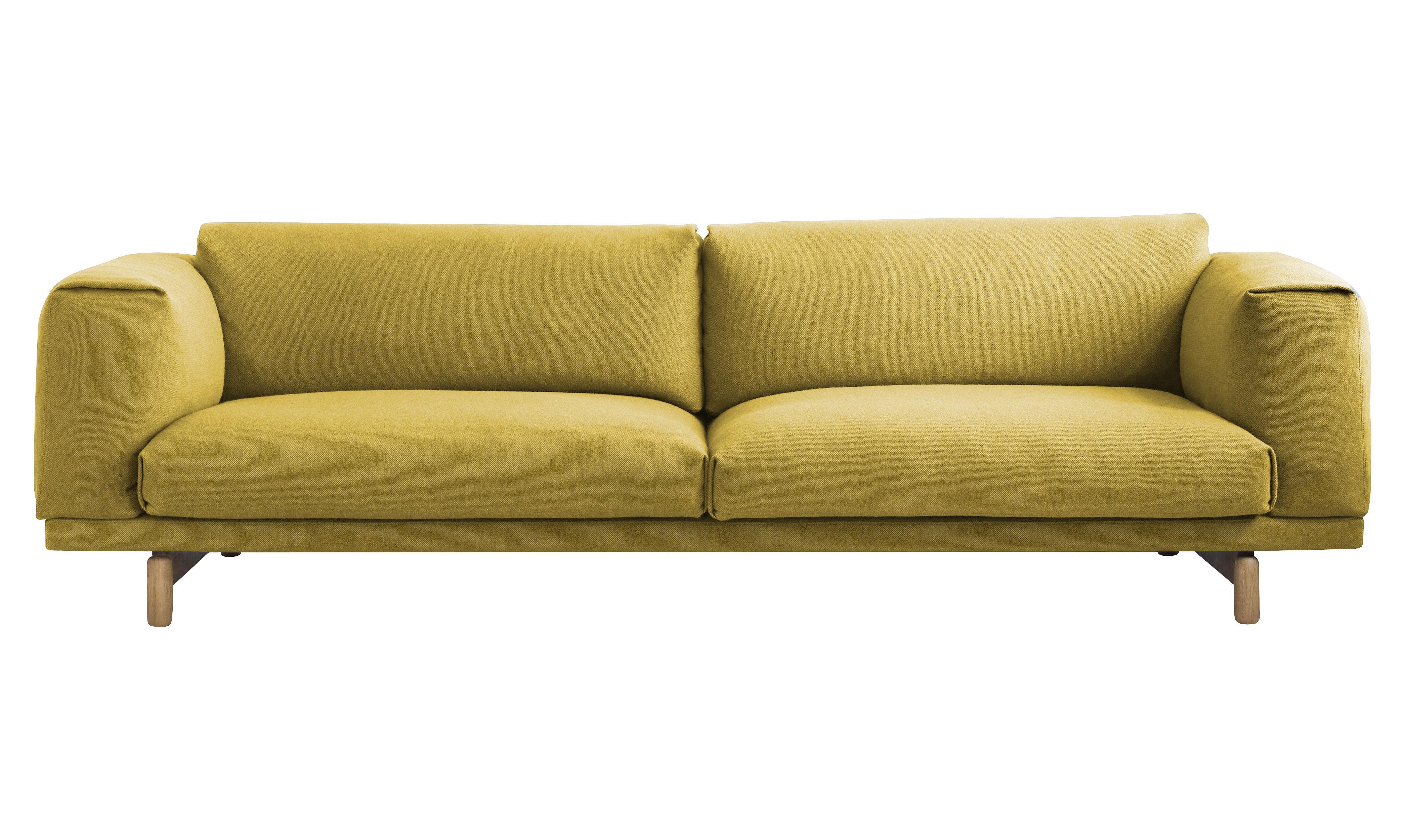 Furniture - Sofas - Rest Sofa - / 3 seats - L 260 cm by Muuto - Yellow / WOOL fabric - Foam, Kvadrat fabric, Oak