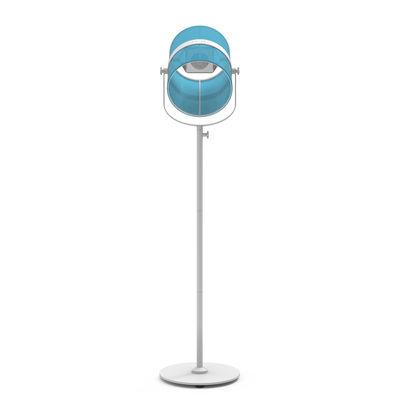 Leuchten - Stehleuchten - La Lampe Paris LED Solarleuchte / kabellos - Maiori - Türkis  / Ständer weiß - bemaltes Aluminium, Gewebe