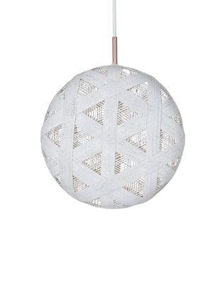 Illuminazione - Lampadari - Sospensione Chanpen Hexagon - / Ø 36 cm di Forestier - Bianco / Motivo triangolo - Tessuto in abaca