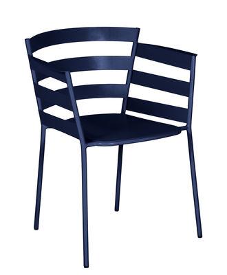 Furniture - Chairs - Rythmic Stackable armchair - / Steel by Fermob - Ocean Blue - Painted steel