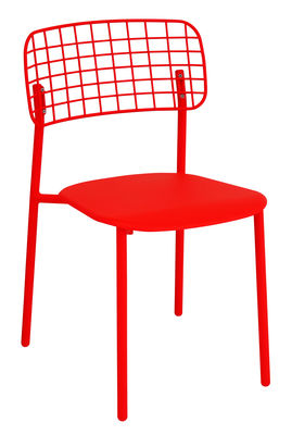 Möbel - Stühle  - Lyze Stapelbarer Stuhl / Metall - Emu - Rot - klarlackbeschichteter rostfreier Stahl, klarlackbeschichtetes Aluminium