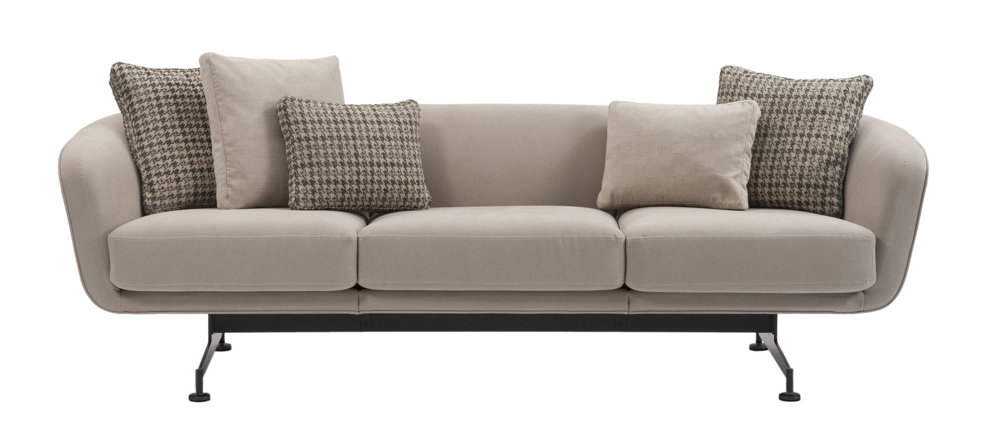 Furniture - Sofas - Betty Boop Straight sofa - / 3 seats - L 245 cm by Kartell - Beige / Black base - Fabric, Mousse de polyuréthane expansé, Painted steel