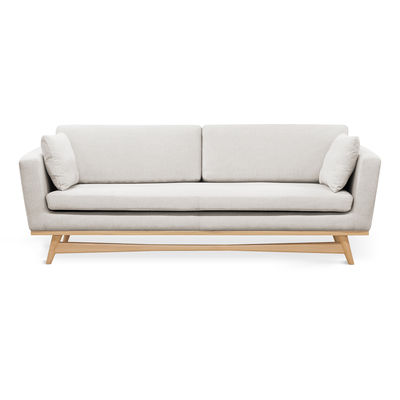 Furniture - Sofas - Straight sofa - / L 210 cm - Fabric by RED Edition - Chalk / Oak - Cotton, High resilience foam, Solid oak