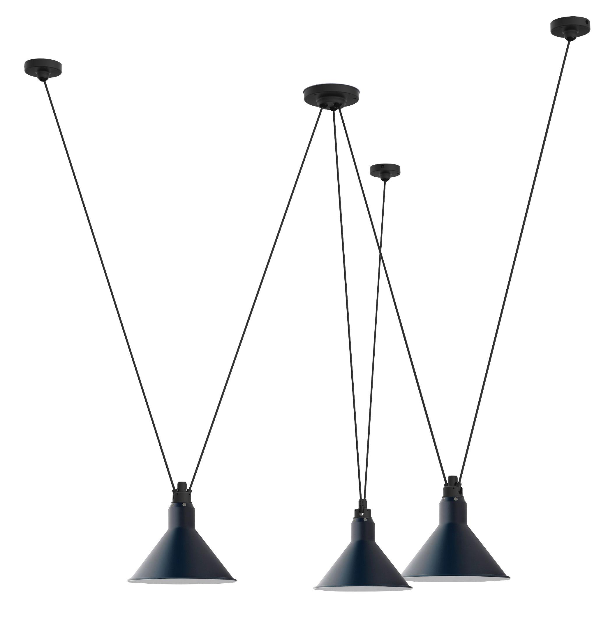 Luminaire - Suspensions - Suspension Acrobate N°325 / Lampe Gras - 3 abat-jours cônes métal - DCW éditions - Bleu / Cône - Acier peint