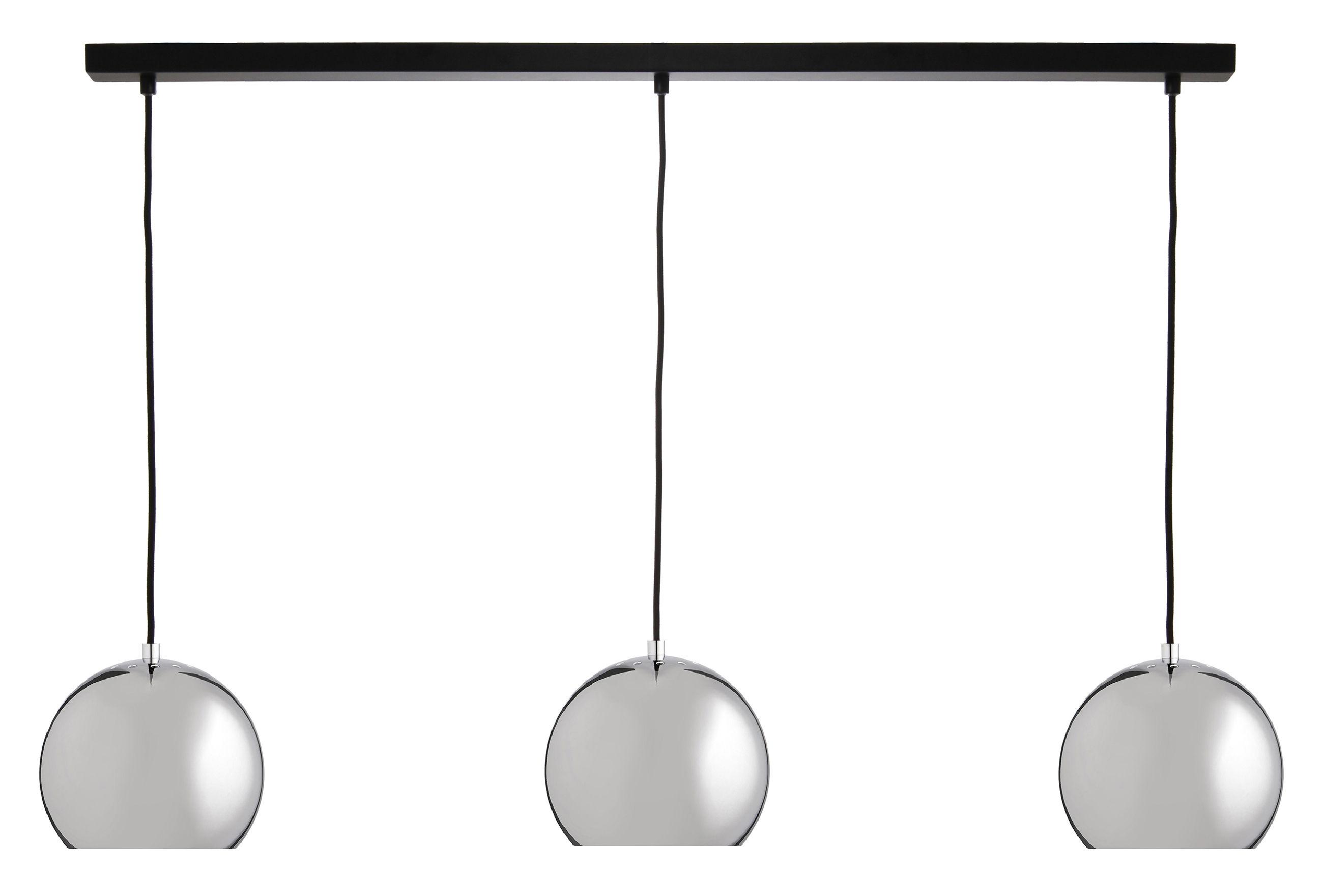 Luminaire - Suspensions - Suspension Ball Track / 3 éléments - L 100 cm - Frandsen - Chromé - Métal, Tissu