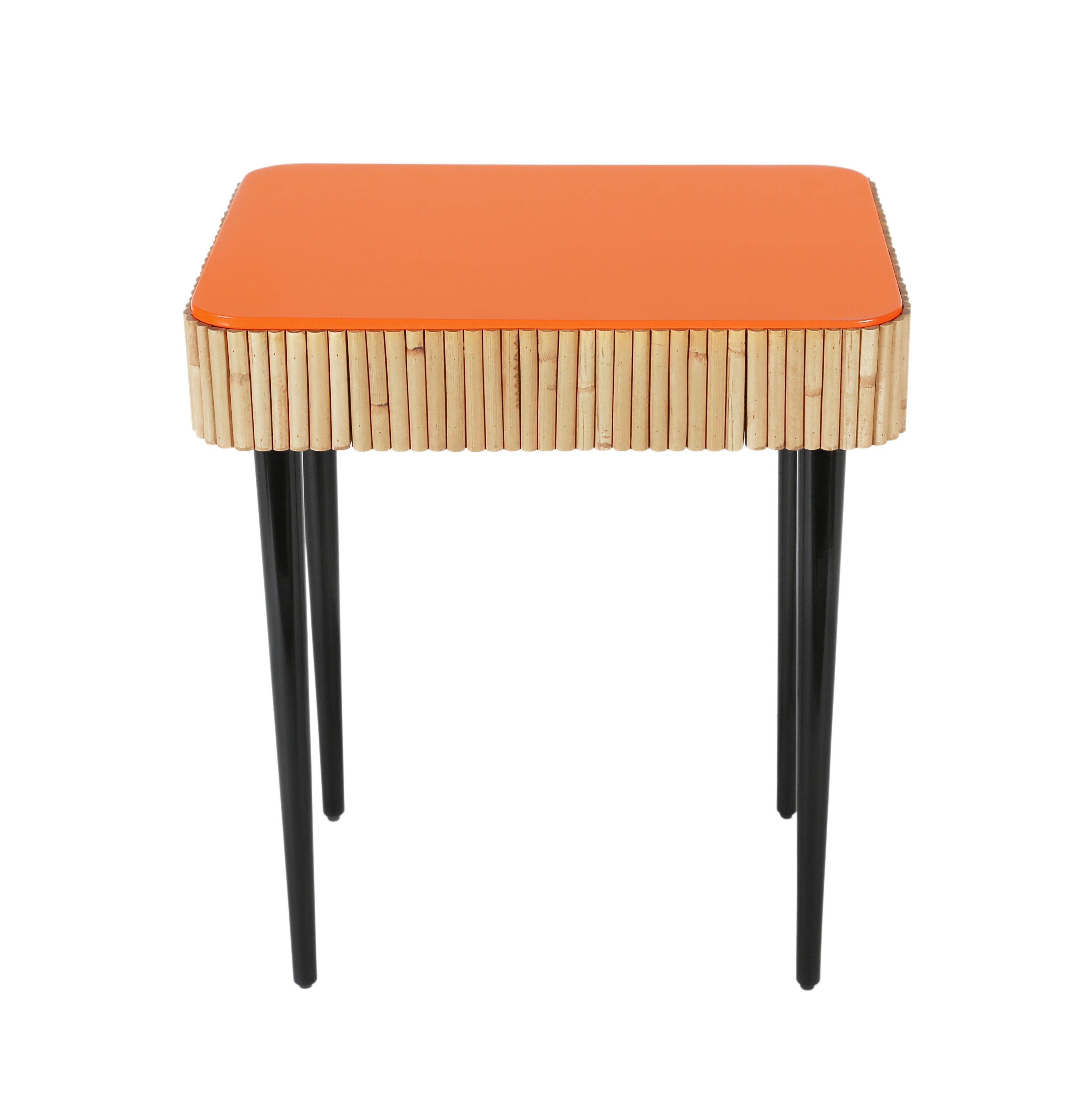 Mobilier - Compléments d'ameublement - Table de chevet Riviera / Rotin - Tiroir - Maison Sarah Lavoine - Corail / Rotin naturel - Bois laqué, Rotin naturel