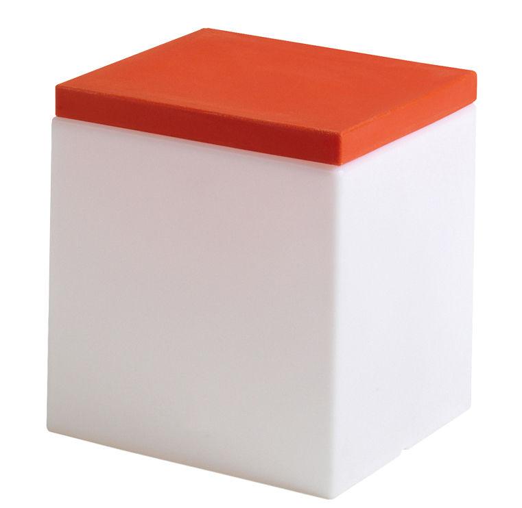 Mobilier - Tabourets bas - Tabouret lumineux Soft Cube / Avec coussin - 43 cm - Slide - Blanc / coussin orange - Polyéthylène recyclable, Polyuréthane