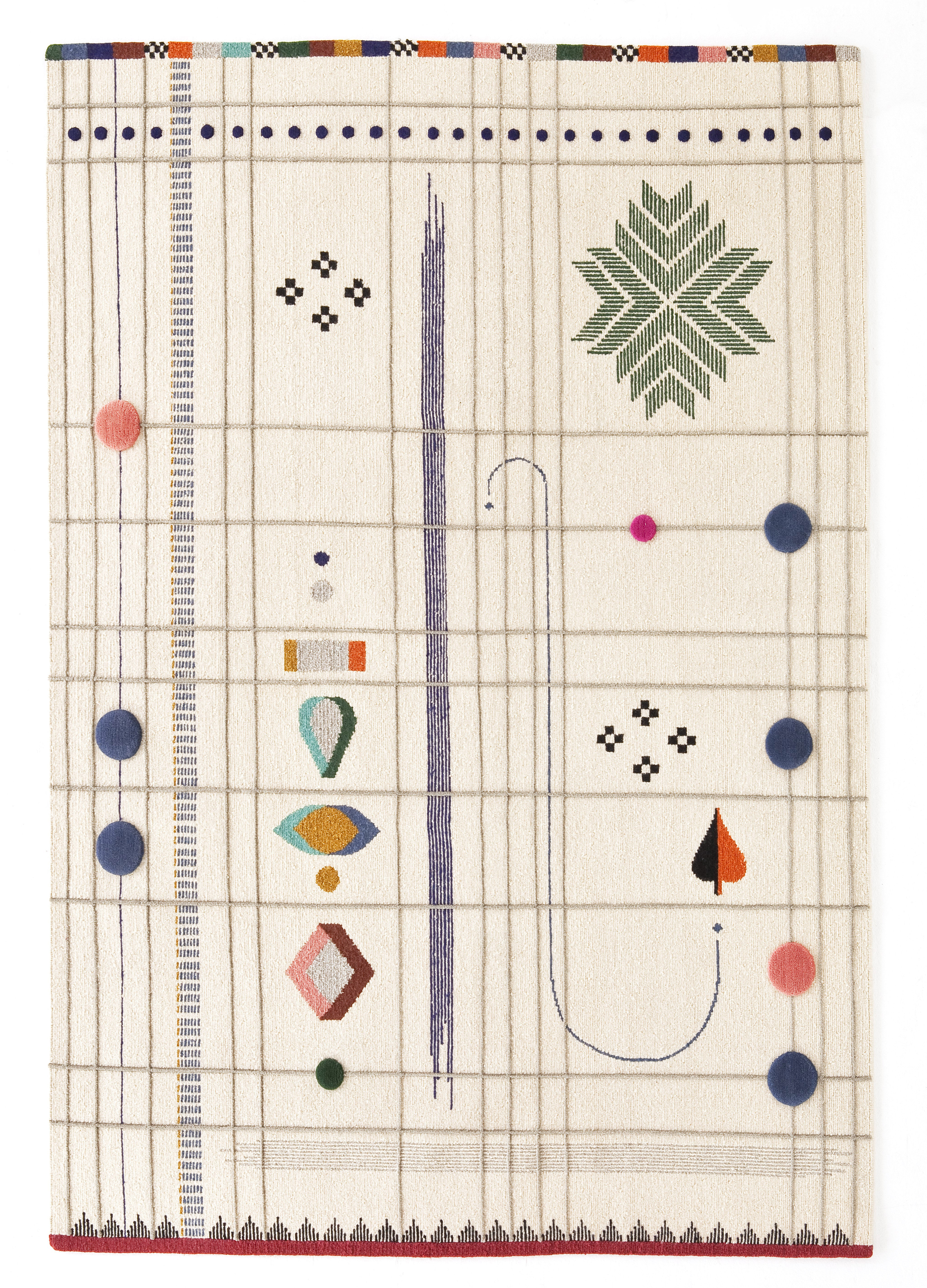Déco - Tapis - Tapis Rabari 1 / Tissé main - 170 x 240 cm - Nanimarquina - Fond crème / Motifs colorés indiens - Laine vierge