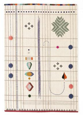 Interni - Tappeti - Tappeto Rabari 1 - / Tessuto a mano - 170 x 240 cm di Nanimarquina - Fondo crema / Motivi colorati indiani - Lana vergine
