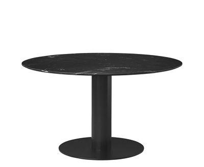 Arredamento - Tavoli - Tavolo rotondo 2.0 - / Ø 130 cm - Marmo di Gubi - Marmo nero / Piede nero - Acciaio verniciato, Marmo