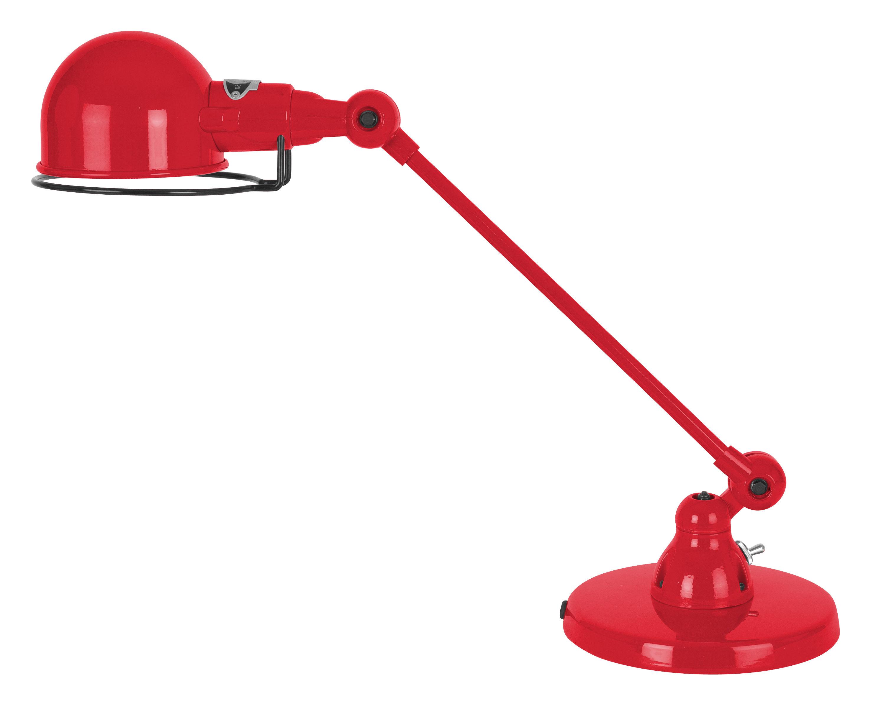Leuchten - Tischleuchten - Signal Tischleuchte / mit schwenkbarem Arm - L 40 cm - Jieldé - Rot-glänzend - rostfreier Stahl