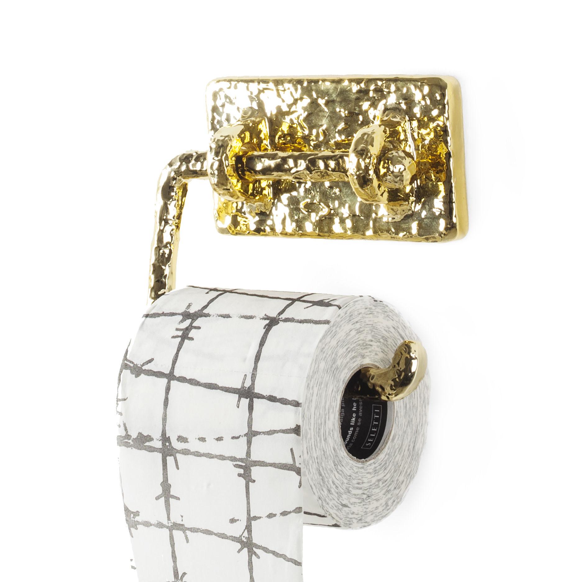 Accessoires - Accessoires für das Bad - Mauriziø Toilettenpapierhalter / goldfarben - Seletti - Messing - Harz, Messing