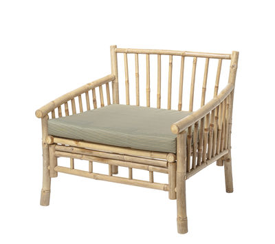 Furniture - Armchairs - Sole Armchair - / Bamboo - With cushion by Bloomingville - Bamboo / Beige striped cushion - Bamboo, Fabric