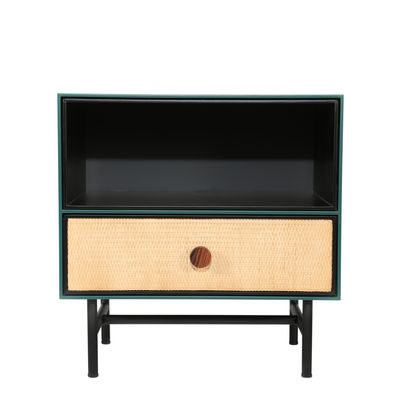 Furniture - Coffee Tables - Essence Bedside table - / Wood & rattan by Maison Sarah Lavoine - Black & green - Lacquered wood, Metal, Rattan, Rosewood, Velvet
