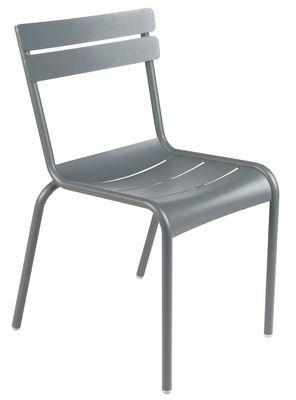 Mobilier - Chaises, fauteuils de salle à manger - Chaise empilable Luxembourg / Aluminium - Fermob - Gris orage - Aluminium laqué