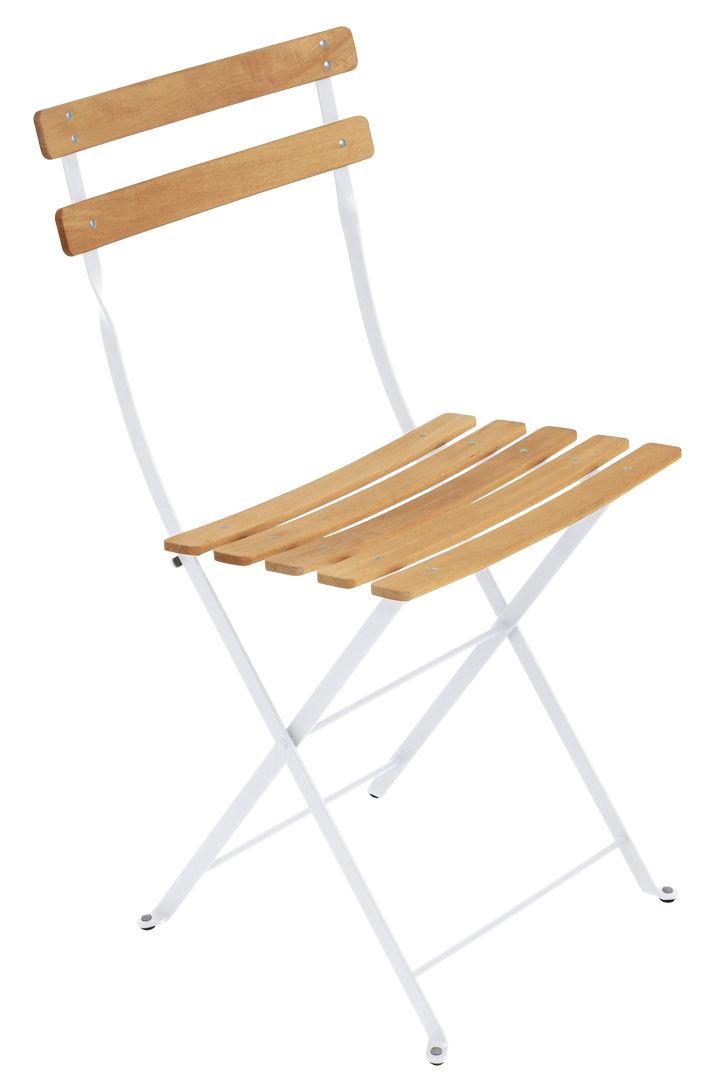 Mobilier - Chaises, fauteuils de salle à manger - Chaise pliante Bistro / Métal & bois - Fermob - Blanc coton / Bois - Acier peint, Hêtre traité