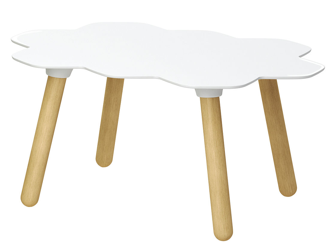 Furniture - Coffee Tables - Tarta Coffee table by Slide - Laquered white top / Natural wood feet - Polyurethane, Wood