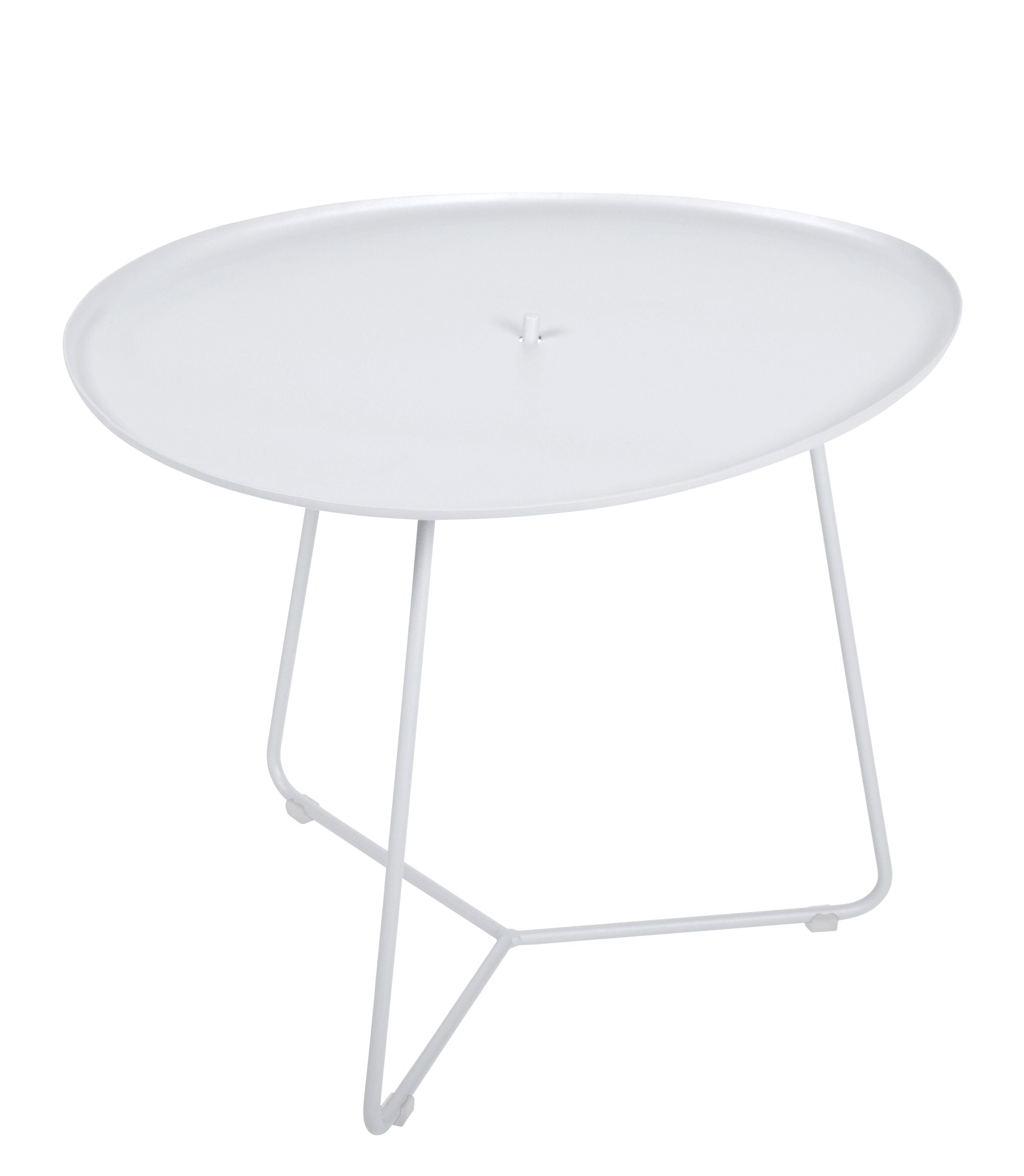 Möbel - Couchtische - Cocotte Couchtisch / L 55 cm x H 43,5 cm - abnehmbare Tischplatte - Fermob - Baumwollweiß - bemalter Stahl