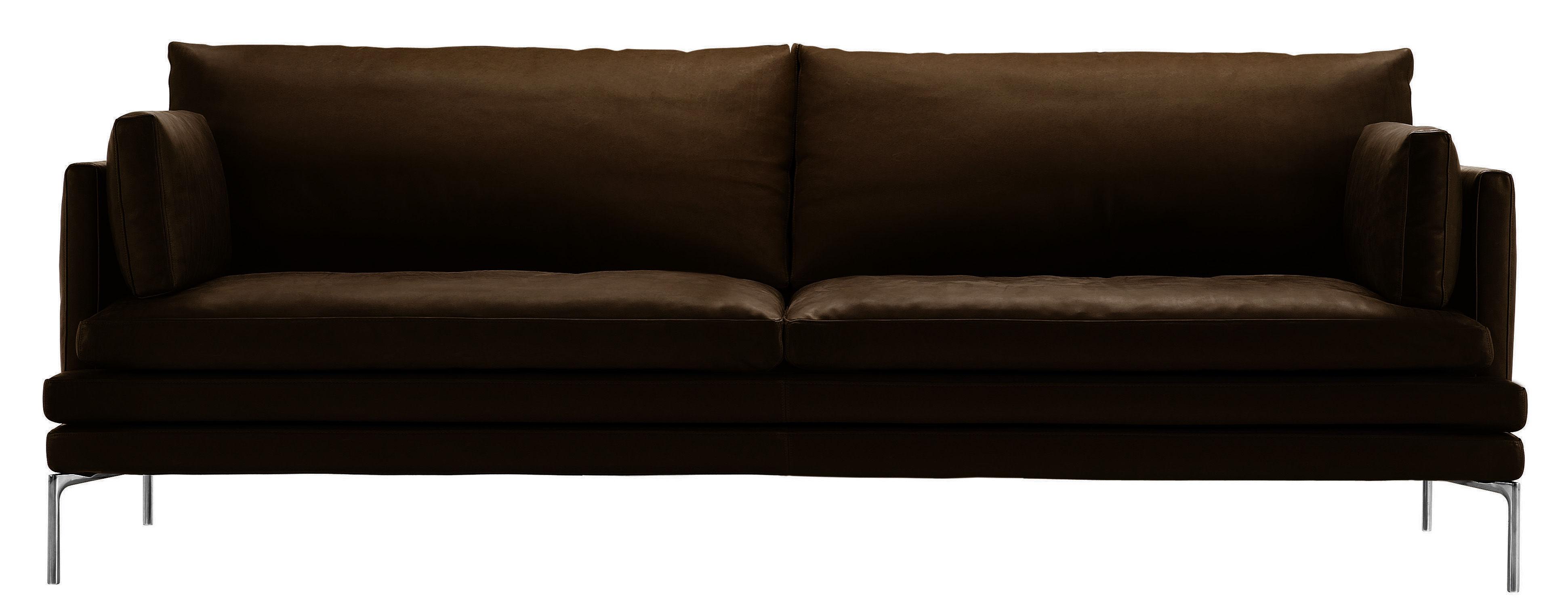 Arredamento - Divani moderni - Divano destro William - versione in cuoio - 2 posti - L 224 cm di Zanotta - Cuoio - Marrone scuro - Alluminio lucido, Pelle