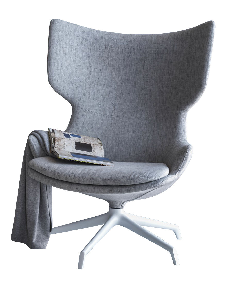 Möbel - Lounge Sessel - Lou Speak Drehsessel / gepolstert - Stoff - Driade - Grau-meliert / Fußgestell weiß - Gewebe, Gussaluminium, Polyurethan-Schaum