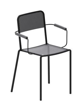 Mobilier - Chaises, fauteuils de salle à manger - Fauteuil empilable Ginger / Gris micacé - Zeus - Gris micacé - Acier peint époxy