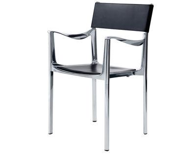 Mobilier - Chaises, fauteuils de salle à manger - Fauteuil empilable Venice / Alu poli & dossier cuir - Magis - Structure alu poli / Dossier cuir noir - Aluminium poli, Cuir