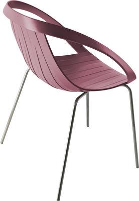 Mobilier - Chaises, fauteuils de salle à manger - Fauteuil Impossible Wood / Plastique aspect bois & pieds métal - Moroso - Piètement chromé - Assise rose - Acier, Bois, Polypropylène