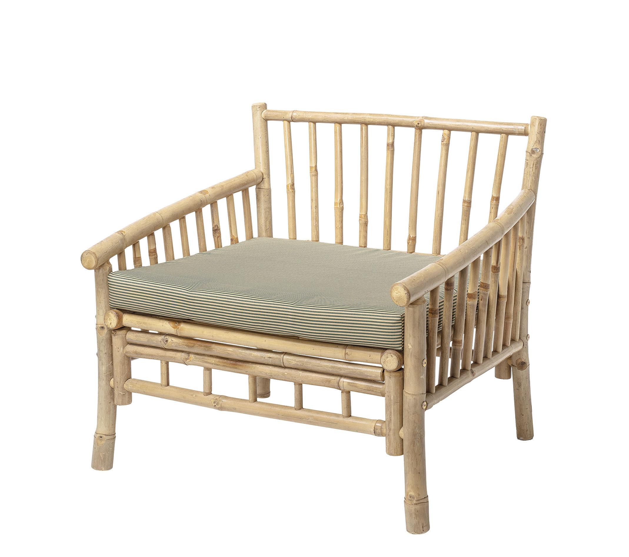 Mobilier - Fauteuils - Fauteuil Sole / Bambou - Avec coussin - Bloomingville - Bambou / Coussin rayé beige - Bambou, Tissu