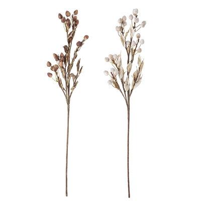 Déco - Pots et plantes - Fleurs séchées artificielles / Set de 2 - H 80 cm - Bloomingville - Ton beige / brun - Fer, Papier, Styrofoam