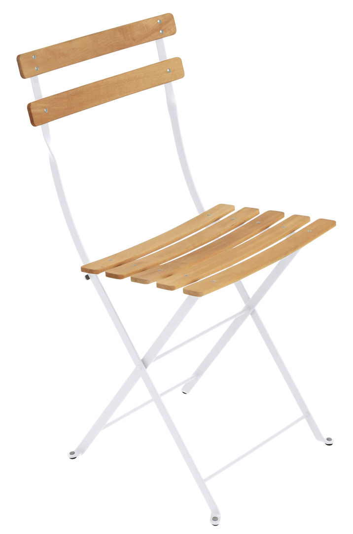 Furniture - Chairs - Bistro Folding chair - Metal & wood by Fermob - Cotton white / Wood - Painted steel, Treated beechwood