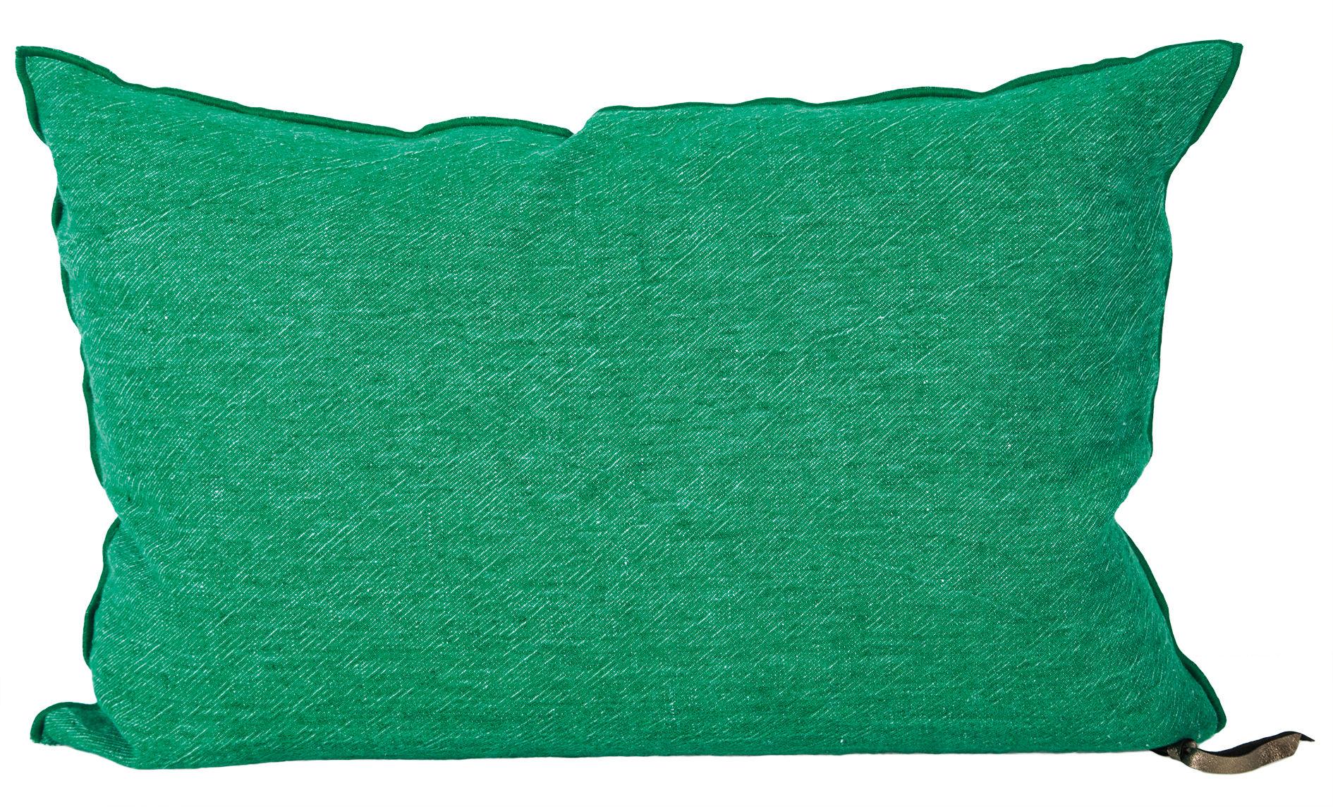 Dekoration - Kissen - Vice Versa Kissen / 30 x 50 cm - Leinen - Maison de Vacances - Smaragdgrün - Baumwolle, Entenfedern, Zerknittertes und gewaschenes Leinen