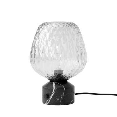 Luminaire - Suspensions - Lampe de table Blown SW6 / Marbre & verre soufflé - &tradition - Argent / Marbre noir - Marbre Marquina, Verre soufflé bouche