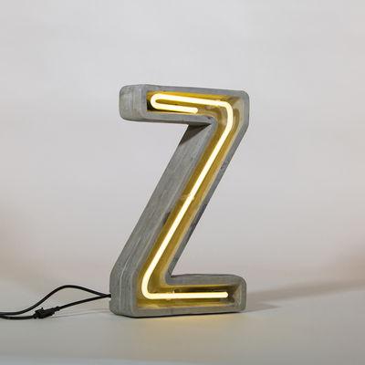 Lampe de table Néon Alphacrete / Lettre Z - Intérieur / extérieur - Seletti blanc,gris en pierre
