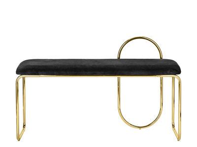Arredamento - Panchine - Panca imbottita Angui - / Velluto - L 110 cm di AYTM - Noir / Structure or - Espanso, Ferro laccato, Velluto di cotone