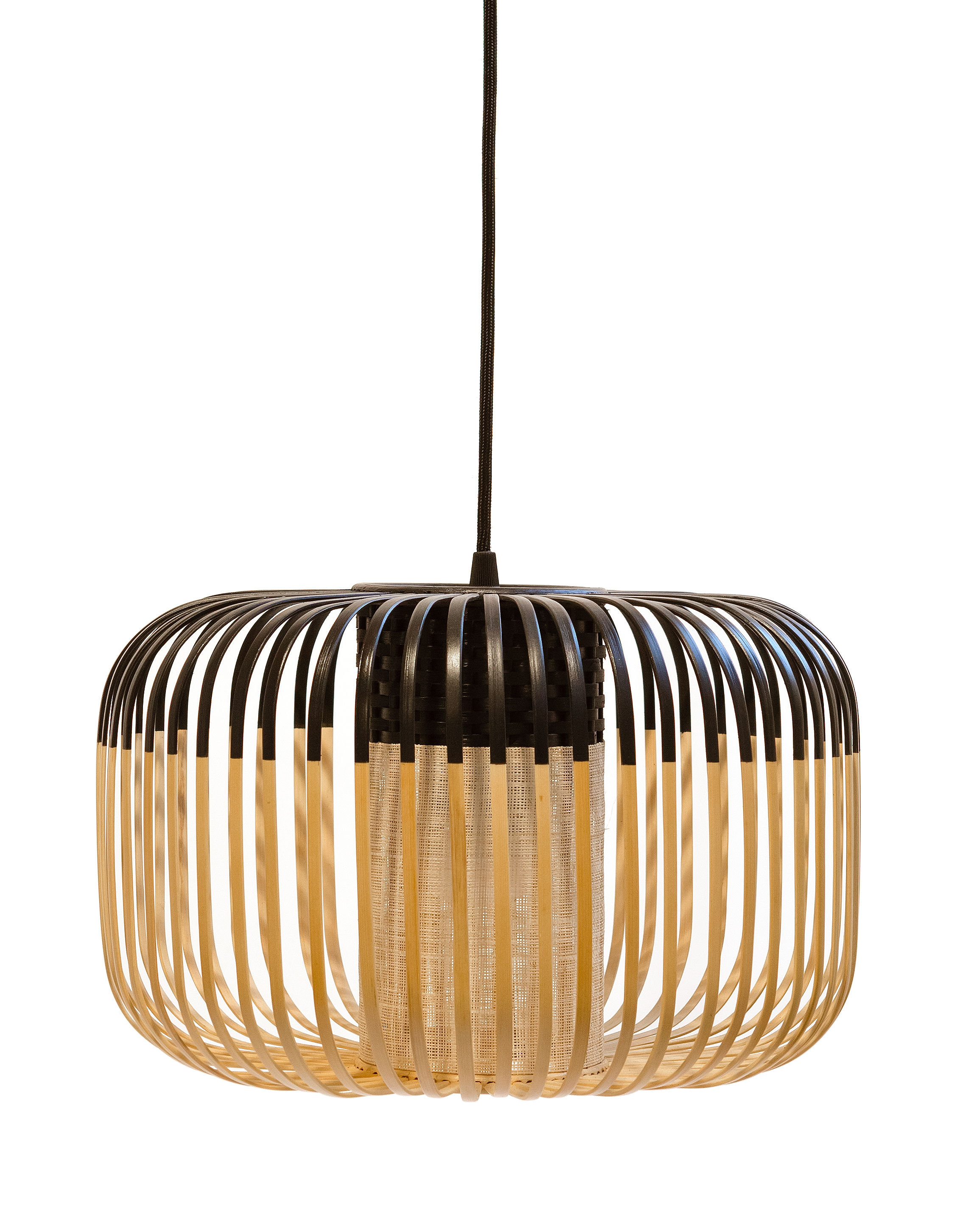 Lighting - Pendant Lighting - Bamboo Light S Outdoor Pendant - H 23 x Ø 35 cm by Forestier - Black / Natural - Natural bamboo, Rubber